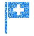hospital flag grunge icon vector image