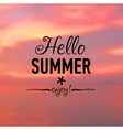 Summer card with sunset background and text vector image