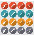 Tools icons set Glue pliers wrench key screw vector image