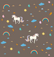 unicorn seamless pattern with decorative elements vector image