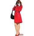 girl speak mobile vector image vector image