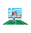 The flag of Greece and the tennis player vector image vector image