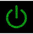 Green power button icon Black background Polygonal vector image