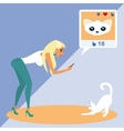 Blond woman is taking a snapshot of the cat for vector image