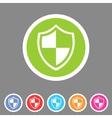 Shield icon flat web sign symbol logo label set vector image vector image