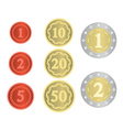 imaginary collection of coins vector image vector image