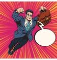 Businessman super hero flying vector image