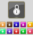 closed lock icon sign Set with eleven colored vector image