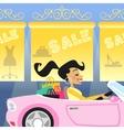girl shopping in car vector image