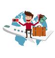 World Travel Man travel around the world vector image