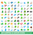 100 camping nature icons set isometric 3d style vector image