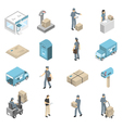 Post Office Service Isometric Icons Set vector image vector image