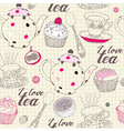Love Tea Pattern vector image