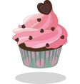 Cupcake pink icing decorated with chocolate heart vector image