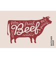 Trendy poster with red cow silhouette vector image