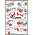 fast food menu cover layout with hand drawn of vector image