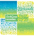 Ecological green eco set with patterns and vector image