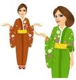 attractive japanese woman wearing kimono vector image