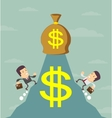 Businessman is runing to get the money vector image