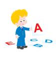 schoolboy in english class vector image