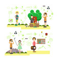 set of tourist people symbols in flat vector image