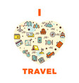 travel poster or print - i love travel design with vector image