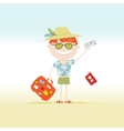 Happy tourist with tickets and suitcase for your vector image
