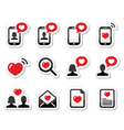 Love couples Valentines Day icons set vector image vector image