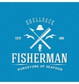 Retro Fisherman Logo or Label Template vector image