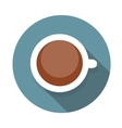 Cup of Coffee Flat Icon with Long Shadow vector image
