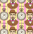 Sketch man in hat and pocket watch vector image