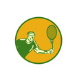 Tennis Player Forehand Circle Woodcut vector image vector image