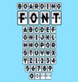 analog boarding font template set vector image