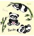 Cute Panda in different poses hand drawing vector image