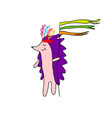 Hedgehog indian with feathers on his head holding vector image