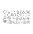new year concept in thin line vector image