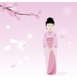 Kokeshi Doll Under Sakura Branch Royalty Free Vector Image