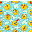 summer seamless pattern with sun characters vector image