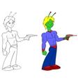 Alien with a Ray Gun vector image