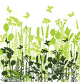 decorative meadow silhouettes of different plants vector image