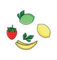 lemon lime strawberry and banana flat icon set vector image