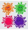 Set of four cute cartoon blots with smile vector image