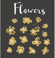 Set of stylish grunge gold flowers painted dry ink vector image