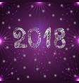 snowflake on a purple background new year 2018 vector image