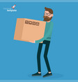 young man walking with retail box vector image