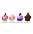 Cupcakes icon set Strawberry Creme Brulee Coffee vector image
