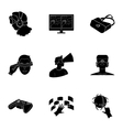 Virtual reality set icons in black style Big vector image