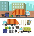 process of taking of garbage with rubbish truck vector image