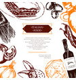 italian food - color hand drawn composite flyer vector image