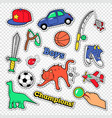 boy childhood doodle with ball toys vector image vector image